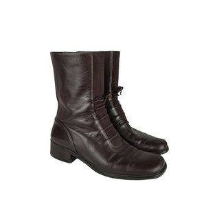 Y2K Leather Square-toe Made in Italy Lace-Up Detail Booties